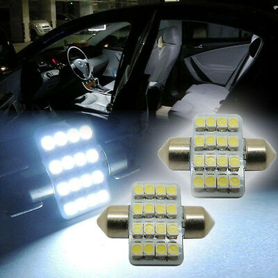 "2x White 1.25"" 31mm 16-SMD-5050 DE3175 LED Lights For Interior Dome Map 1016 RQE"