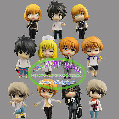 Anime Death Note L misa Ryuk Night Yagami Set of 11pcs Figures loose  New