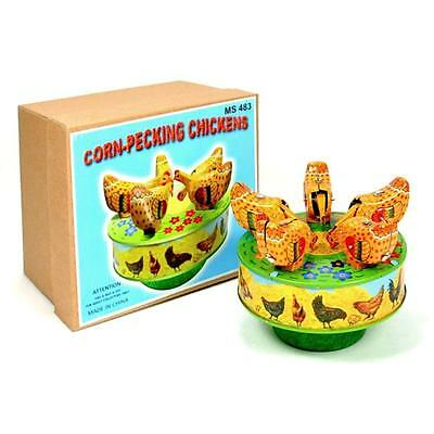 """TIN TOY CORN PECKING CHICKENS 4"""" Wind Up Carousel NEW Collectible Gift Chicken"""