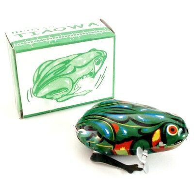 "WIND UP TIN TOY FROG 1.5"" Hopping Jumping Vintage Retro Style NEW IN BOX Cat Toy"