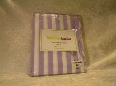 Tadpoles Stripe 63 inch Curtain Panels Set of 2 - Lilac