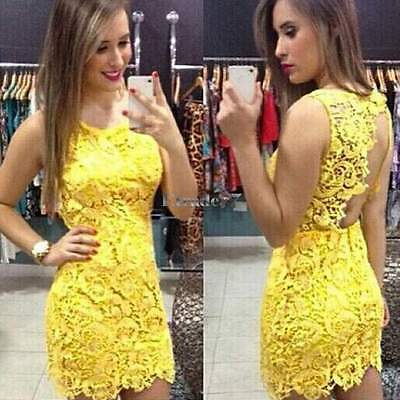 2015 Hot Women's Sexy Backless Straps Lace Yellow Club Party Cocktail Mini Dress