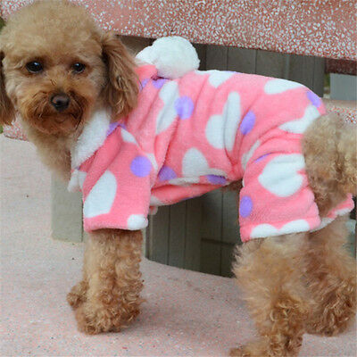 Dog Cute Warm Clothes Autumn Winter Coat Puppy Costumes Apparel Flannel Pink M