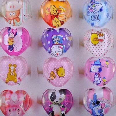 Nice 20Pcs Wholesale Mixed Lots Cute Cartoon Children Kid Resin Lucite Rings