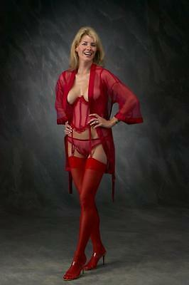 3 Pc EMPIRE RED LINGERIE SET BURGUNDY 34 CUPLESS BUSTIER ROBE PANTY USA