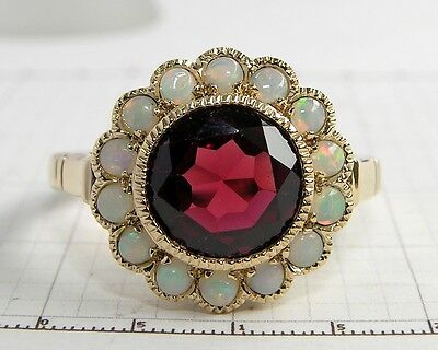 CR1132- Genuine 9K Gold NATURAL Garnet & Opal Ring Cluster made in your size
