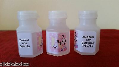 Minnie Mouse 1st First Birthday Bubble labels Party Favors 30 pc