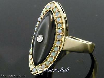 C180- Genuine 9ct Solid Gold Natural Onyx, Opal & Diamond Large Ring in yr size