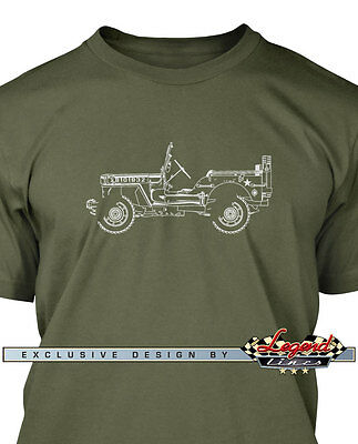 Jeep Willys 1944 - 1945 WWII Men T-Shirt - Multiple Colors & Sizes  American Car
