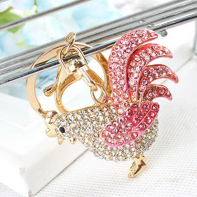 Chicken Cock Rooster Pendant Swarovski Crystal Purse Bag Key Chain Creative Gift