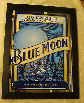 "BLUE MOON BELGIAN WHITE WHEAT ALE 19"" X 15"" BAR MIRROR"