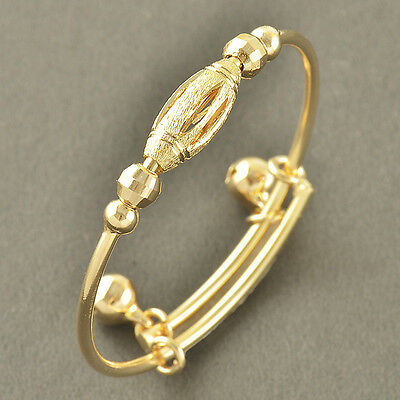 EMBOSSED 9K Solid Gold Filled 2-Bell Toddle Baby Bracelet,No Allergy,Z3446