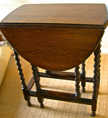GATE-LEG TABLE, small, 1930s, barley twist legs,  good condition, one family
