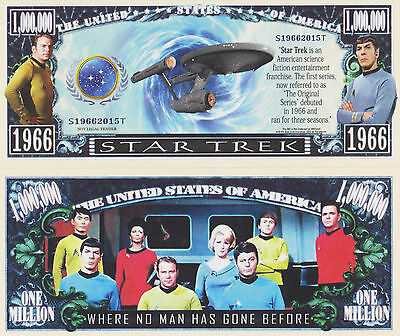 RARE: Star Trek $1,000,000 Novelty Note, TV Shows/Sci-Fi Buy 5 Get one FREE