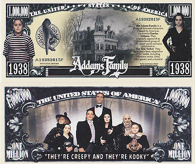 RARE: Addams Family $1,000,000 Novelty Note, TV Shows Buy 5 Get one FREE
