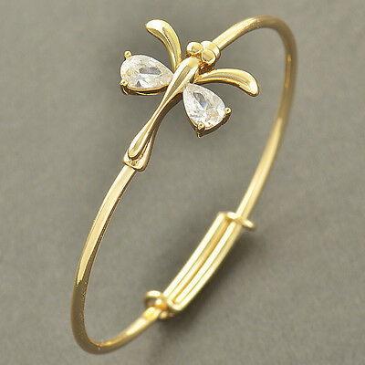 Lovely 9K Solid Gold Filled Cubic Zircon Toddle Baby Dragonfly Bracelet,Z3476