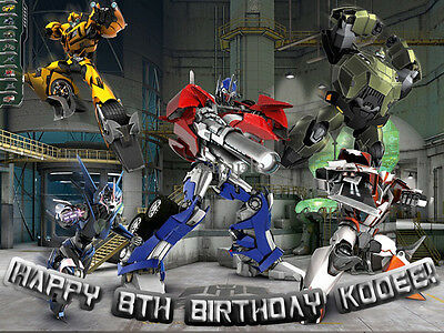 TRANSFORMERS Prime Edible ICING Image Birthday CAKE Topper FREE SHIPPING