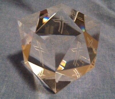 NEW-IN-BOX Steuben Glass Cross Cube Crystal Block -- Signed Paperweight