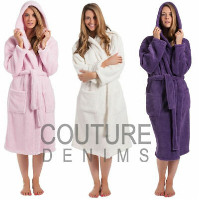 Ladies Dressing Gown Robe Soft Hooded Plain Coral Snuggle Fleece Luxurious Warm