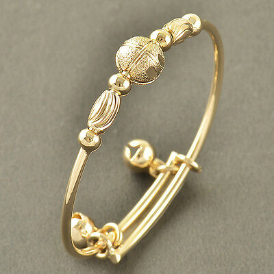 No Allergy 9K Solid Gold Filled EMBOSSED Toddle Baby 2-Bell Bracelet,Z3385