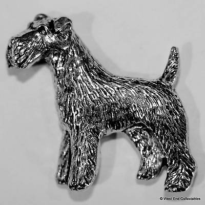 Airedale Terrier Pewter Pin Brooch -British Hand Crafted- Wire Fox Schnauzer