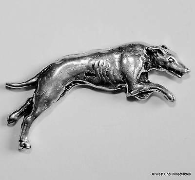 Greyhound Pewter Pin Brooch - British Hand Crafted- Lurcher Coursing Dog Racing