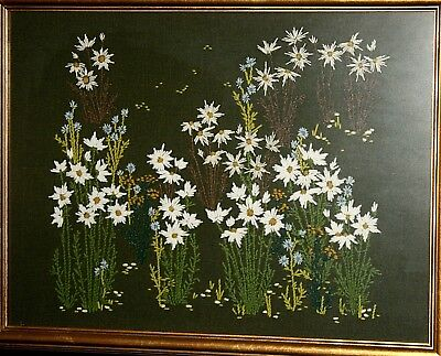"Needlework, botanical, Daffodils, Narcissus, on blk-grn wool, embroidered, 27""w"