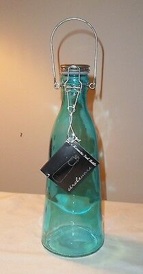 Circleware Glass Hermetic Seal Tall Bottle Turquoise New With Tags Airtight