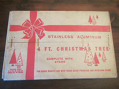 VINTAGE 4 FOOT, STAINLESS ALUMINUM CHRISTMAS TREE.. MINT IN BOX