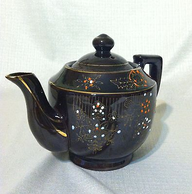 Lusterware Teapot Hand Painted Glazed Gold Leaf w/lid 12 oz Excellent