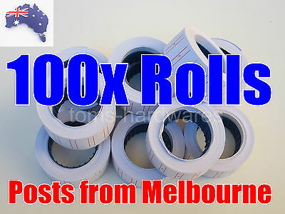 100 rolls RED LINES price labels 21mm x 12mm for Motex MX-5500 / CN5500 5500 etc