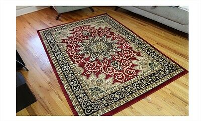 NEW Large 5x7 Oriental Area Rug Persian Style Carpet Burgundy Green Beige Black