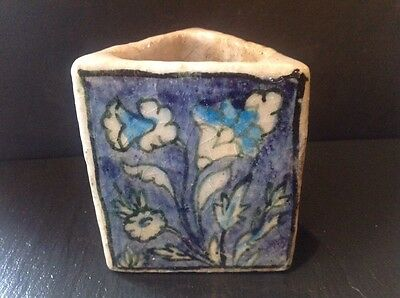ANTIQUE 19th C. PERSIAN GLAZED POTTERY TRIANGLE VASE FLOWERS
