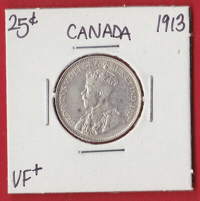 1913 25 Cent Canada Silver Twenty Five Cents Quarter Coin 1455 - $60 - VF +