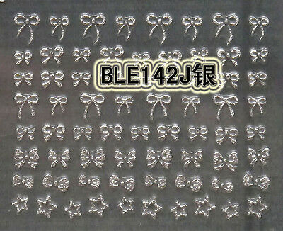 Small Cute Silver Bows 3D Nail Art Stickers Decals UV Acrylic Tips Decoration