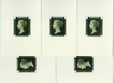 Lot of 5 unused postcard with GB Penny Black Proof design on the back