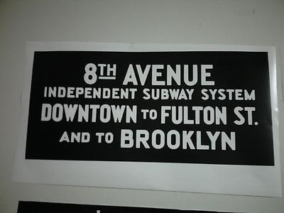 Vintage 8th Ave IND Subway Decal/Poster