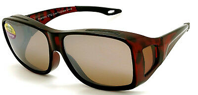 OTG Over-The-Glasses XL Polarized  brown lens vented demi frame sideview -NEW