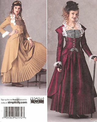 SteamPunk dress PATTERN Simplicity 2172 Victorian 6-22 Industrial Age suit 2sew