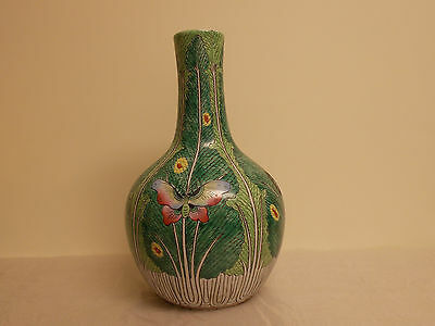 Vintage Chinese Cabbage Bottle Vase Butterflies Grasshoppers and Beatles