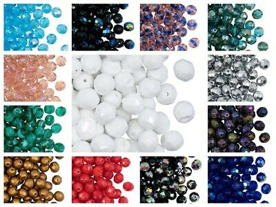 CHOOSE COLOR! 25pcs 8mm Fire Polished Round Beads Czech Glass