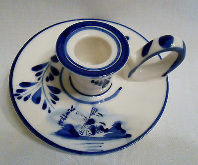 """E & H Delft Blue 5"""" Windmill Holland  Chamber Candle Holder - D7"""