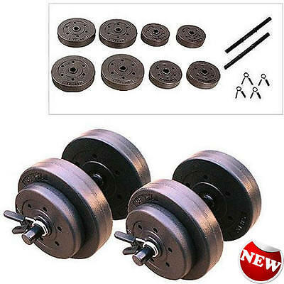 "Pair Dumbbell Vinyl Dumbbells 40 Lbs Adjustable Weights 1"" Hold 5"" Long Bar New"
