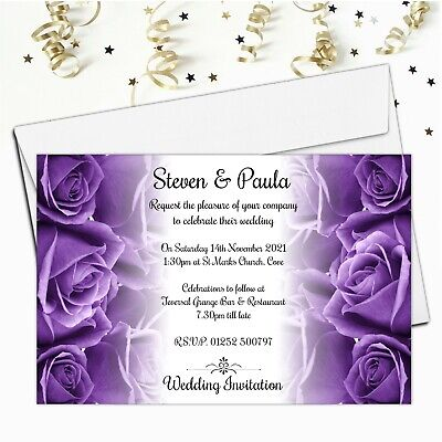 10 Personalised Purple Roses Wedding Invitations Invites Day or Evening N62