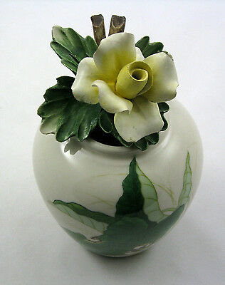"""HERA Vintage Vase Flower Topped 7"""" Features Herons in Water Foliage VHTF Artist"""