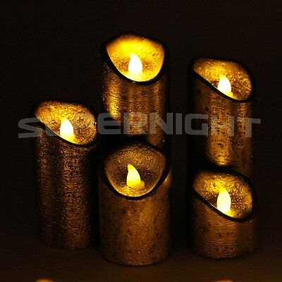 5pcs LED Flameless Vintage Wax Candle Light Remote Control with Timer Gold Xmas