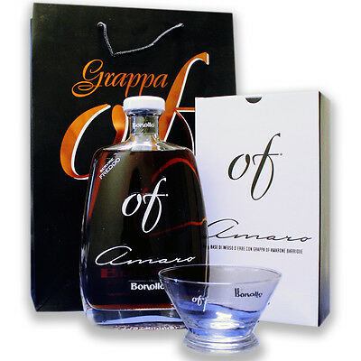 AMARO OF BONOLLO 70 CL. Con Grappa Amarone Barrique + 6 BICCHIERI + BUSTA Regalo