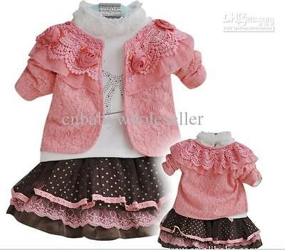 Girls 3 piece outfit rose pink brown white jacket tutu skirt wedding party new
