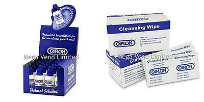 CAFLON NATURAL EAR CARE SOLUTION EAR PIERCING AFTERCARE 30ml BOTTLES or WIPES