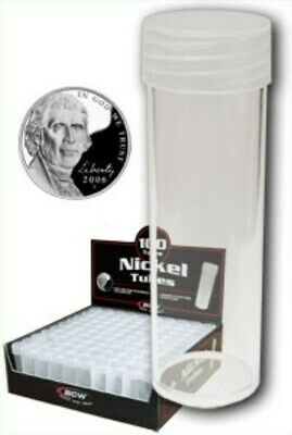 Box of 100 BCW Round Clear Plastic NICKEL Size Coin Tubes w/ Screw On Caps